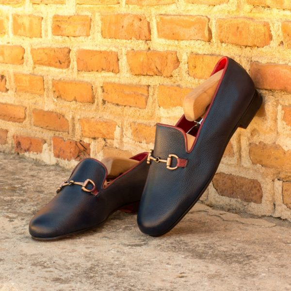 navy and red leather slippers with copper snaffle detail INKWELL
