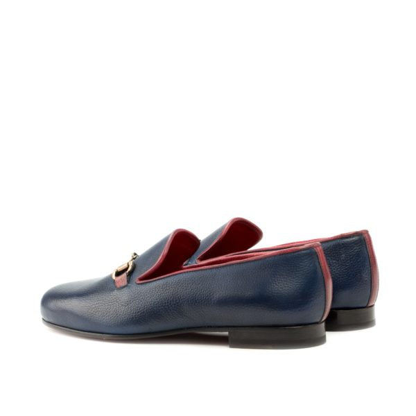 rear red trim detail on navy leather Slippers INKWELL