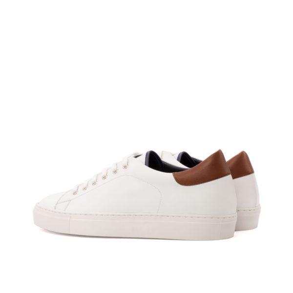 rear contrasting brown leather heel tab on white Trainers MALDINI