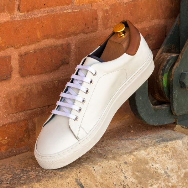 white leather Trainers with navy and brown trim details MALDINI