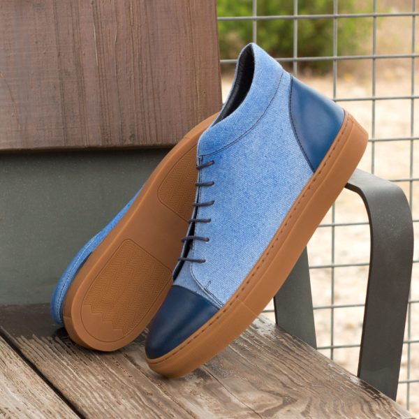 navy leather toe heel detail blue linen Hi-Tops MALONE
