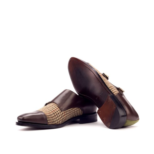 brown leather goodyear welted soles Double Monk Shoes MANTUA