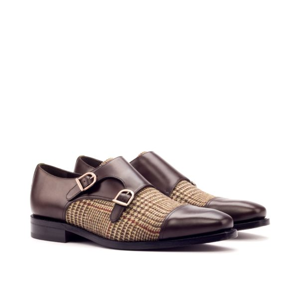 leather and tweed Double Monk Shoes MANTUA by Civardi