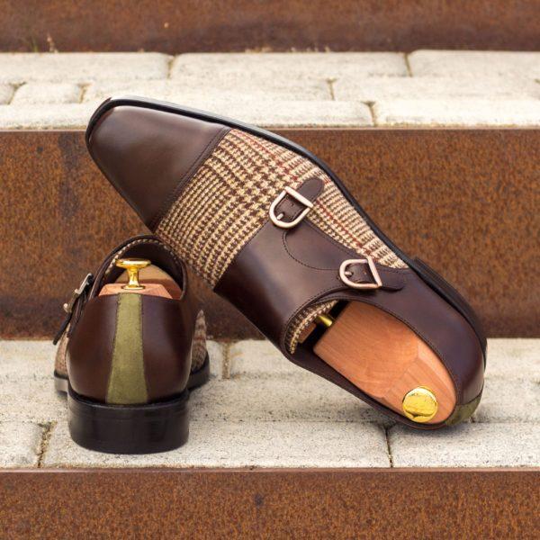 contrasting tweed design Double Monk Shoes MANTUA