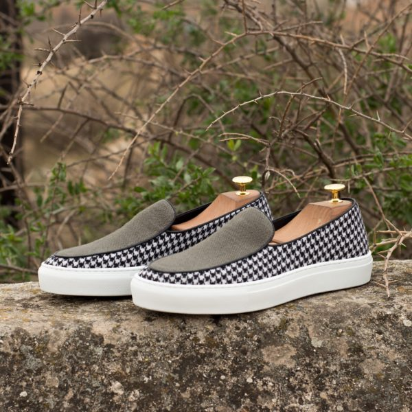 linen and houndstooth fabric Belgian Sneakers NAINGGOLAN
