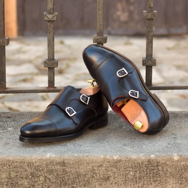 black full grain leather Double Monk Shoes NERA