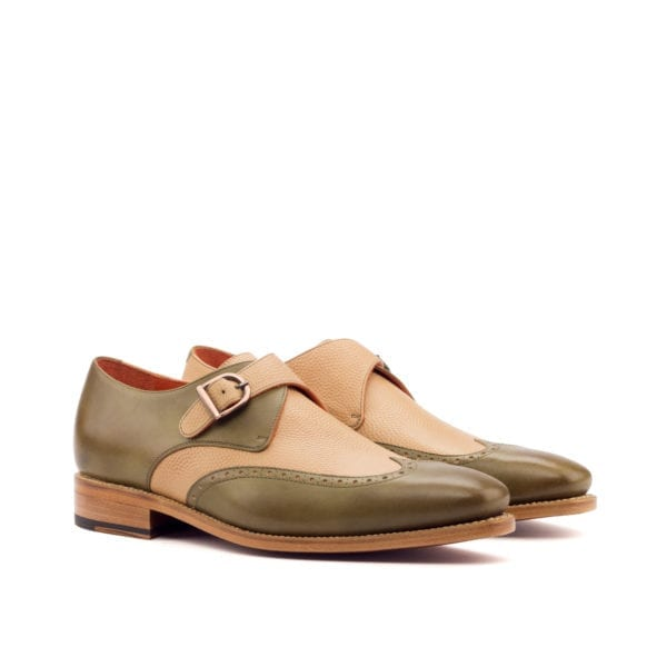 olive and beige leather Single Monk-straps APPORO
