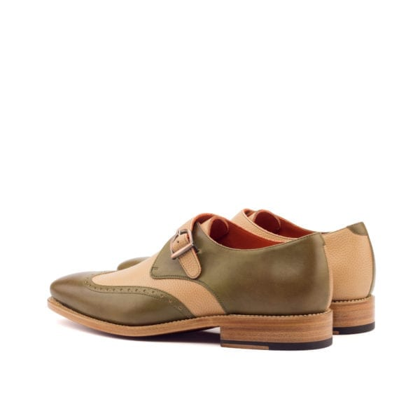 olive green and beige Single Monk Shoes APPORO
