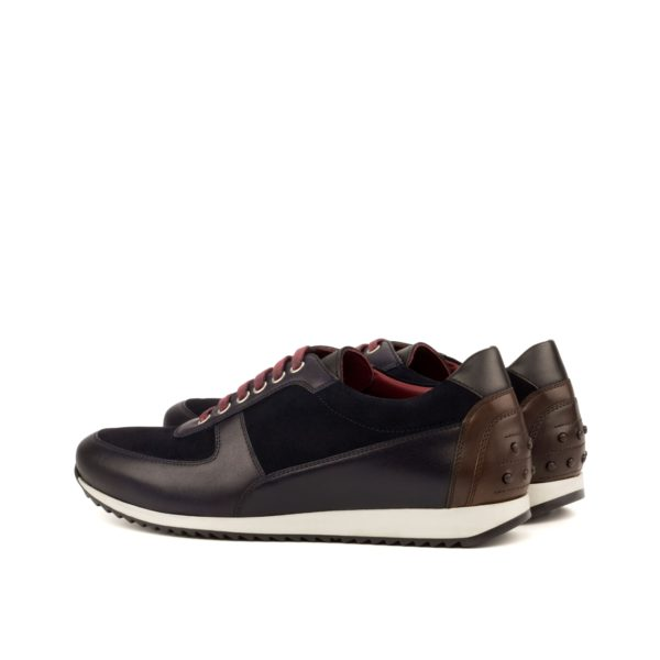 rear brown leather heel detail on luxurious Trainers PEDRO