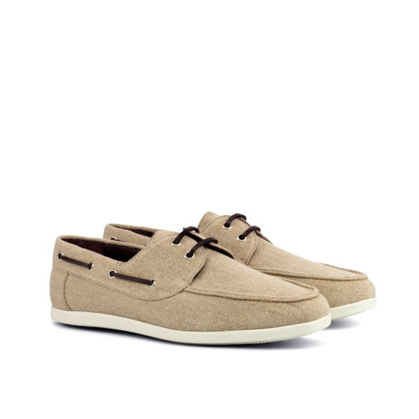 beige linen Boat Shoes with brown leather laces SUNSEEKER by Civardi