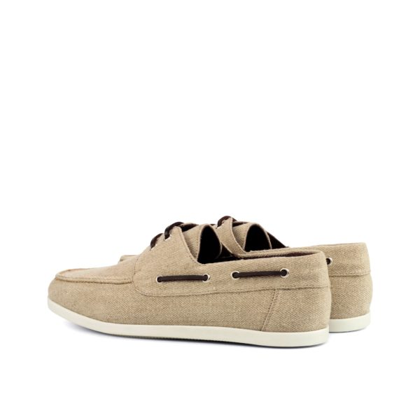 rear brown leather laces detail on beige linen Boat Shoes SUNSEEKER