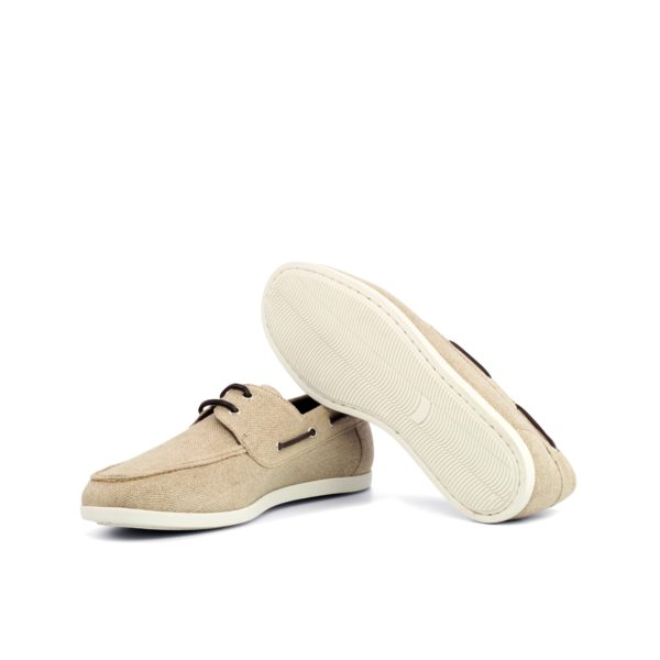 white rubber soles on cream linen Boat Shoes SUNSEEKER