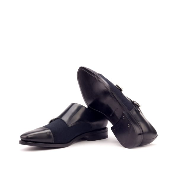 black plain leather Goodyear welted soles Double Monk Shoes TOMMY