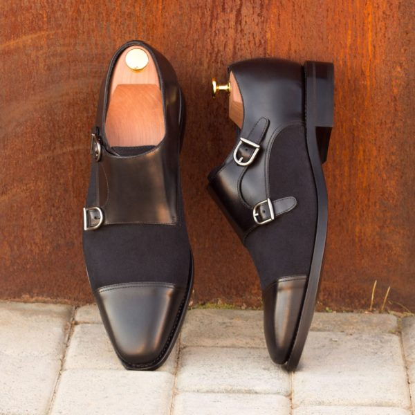black leather and navy suede Double Monk Shoes TOMMY