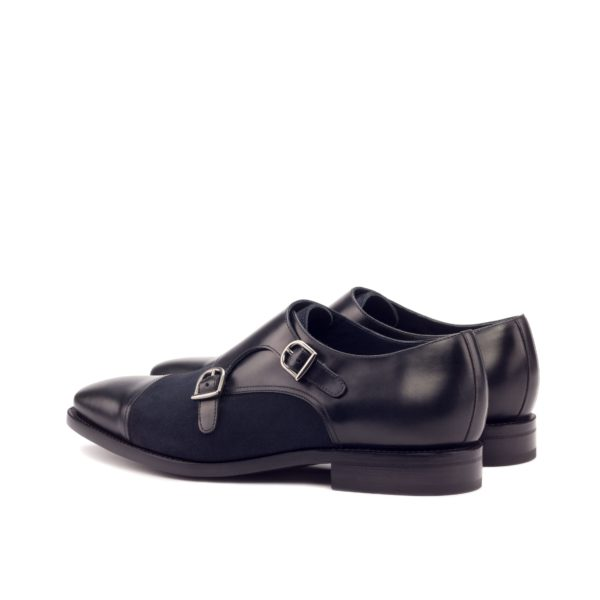 black leather rear section graphite buckles Double Monk Shoes TOMMY
