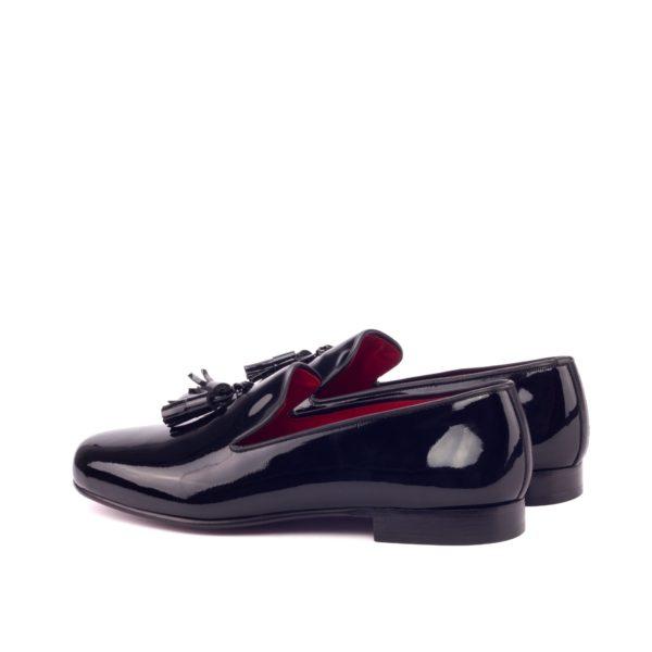 rear calf leather trimmed patent tuxedo slipper TUXO