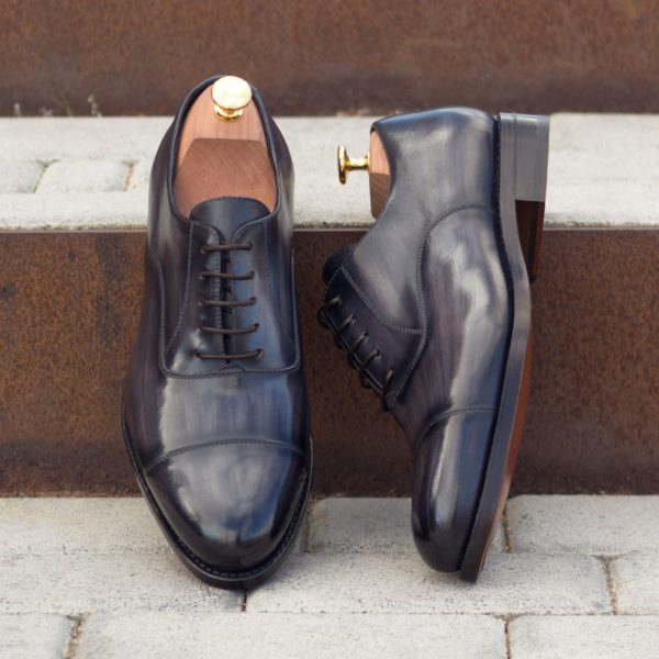 hand polished grey patina leather Oxford Shoes URIAH