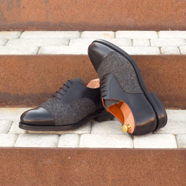 black full grain leather and grey flannel Oxford Shoes WILKINS