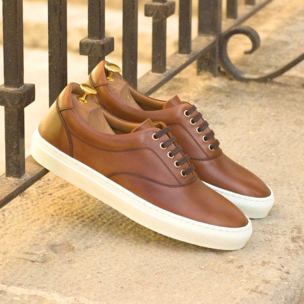 luxury brown leather oxford style casual TopSider Trainers ALVA