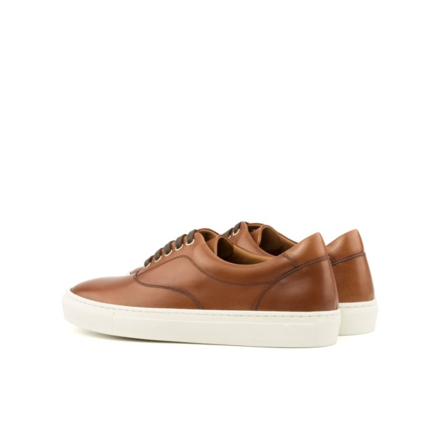 rear detail of brown leather TopSider style mens Trainers ALVA