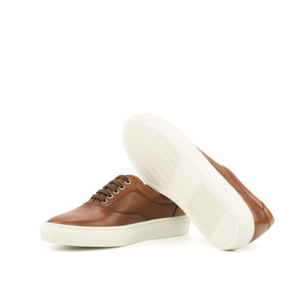 brown leather TopSider Trainers with white rubber soles ALVA
