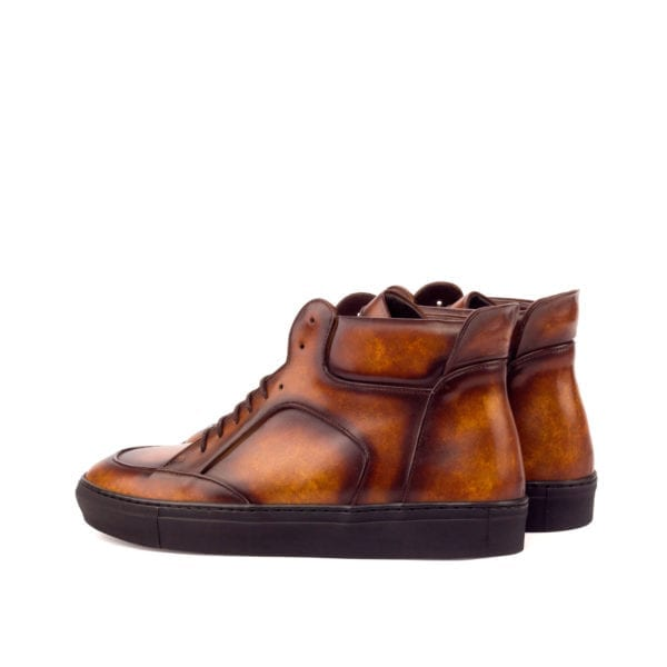 brown marbled Patina leather Hi-Tops WADE