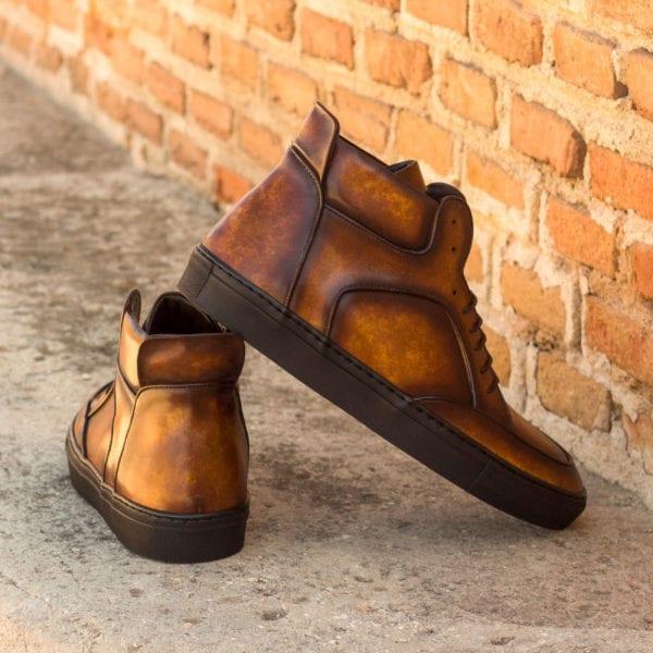 order custom Patina leather Multi-Panel Hi-Tops WADE