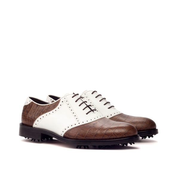 brown croco leather golf shoes with white saddle LOWRY by Civardi