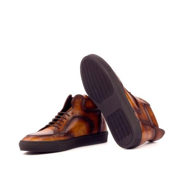 luxury Patina leather Multi-Panel Hi-Tops WADE