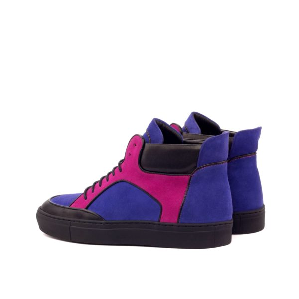 rear pink and purple suede detail on multi-color Hi-Tops RODMAN
