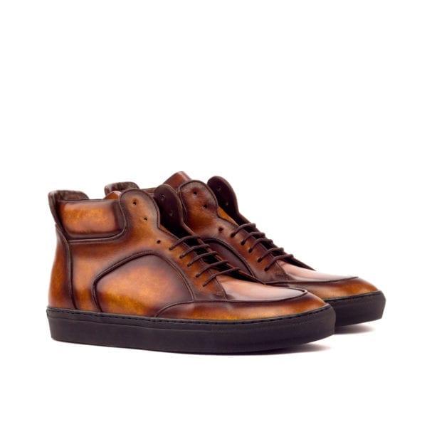stylish Patina leather Multi-Panel Hi-Top sneakers WADE
