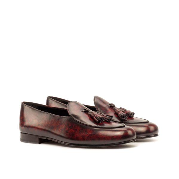 leather tassel Belgian Slippers burgundy patina TIENEN