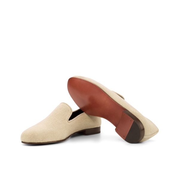 brown fine leather soles on cream linen Slippers BISQUE