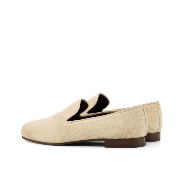 rear suede trim piping on linen Slippers BISQUE