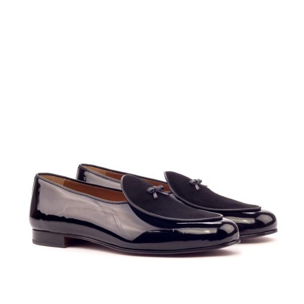black patent leather and suede Belgian evening slippers BROQUEVILLE by Civardi