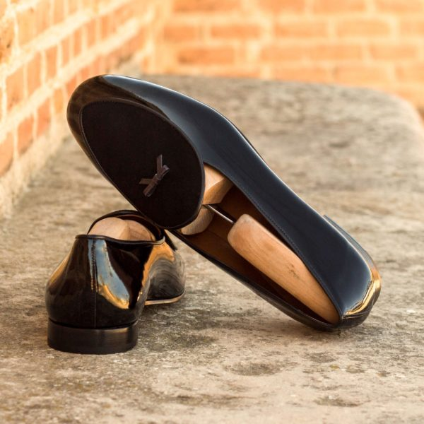 Belgian Slippers in black patent with bow detail BROQUEVILLE