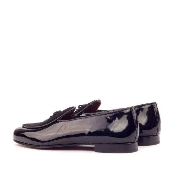 rear detail of trimmed black patent leather evening slippers BROQUEVILLE