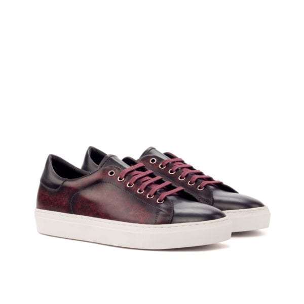 burgundy and grey Patina leather Trainers RIVA