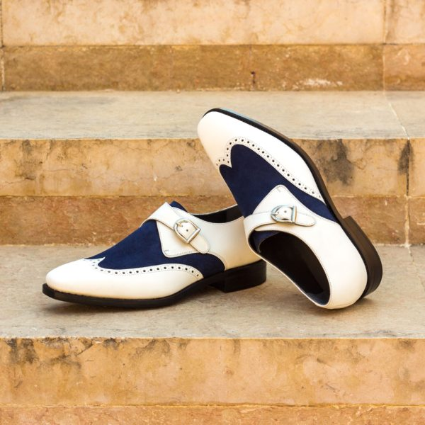 customize white leather and blue suede Single Monk Shoes MICHAEL