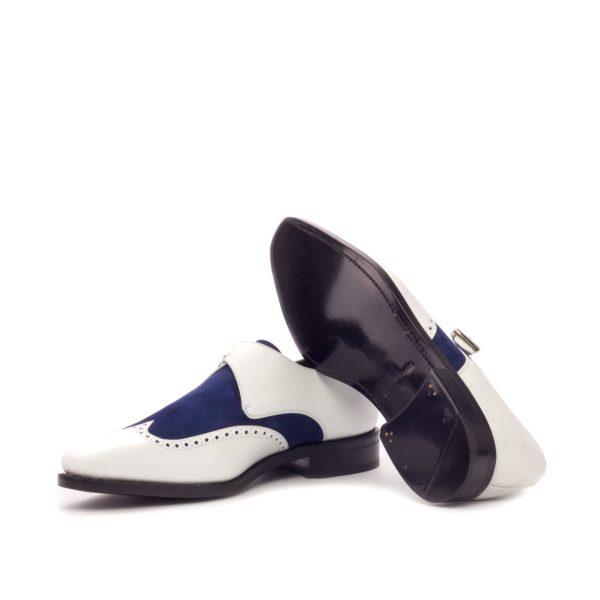 black plain leather soles on Single Monk Shoes MICHAEL