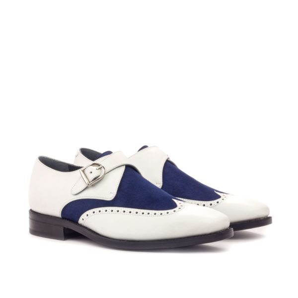 white leather and blue suede Single Monk Shoes MICHAEL by Civardi