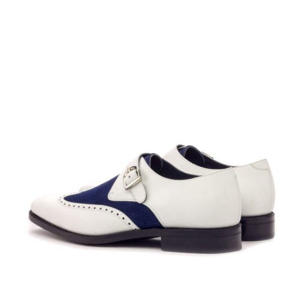 silver buckle on white leather Single Monk Shoes MICHAEL