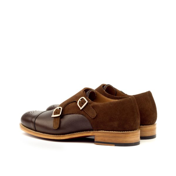 rear brown suede heel detail on smart casual Double Monk Shoes PIERRO