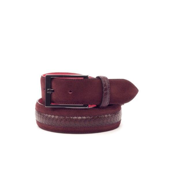 burgundy suede & braided leather Belt MARCO