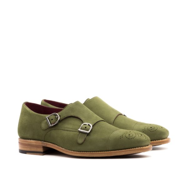 Green Suede Double Monks FORESTA