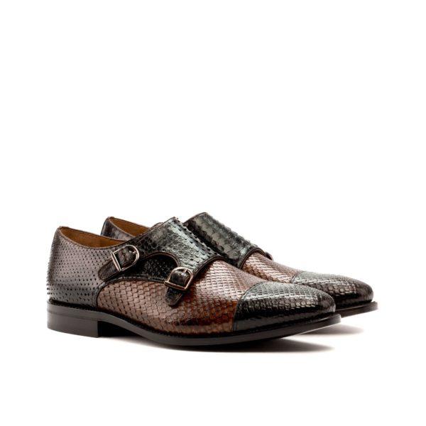 Python skin Double Monk shoes SERPENTES by Civardi
