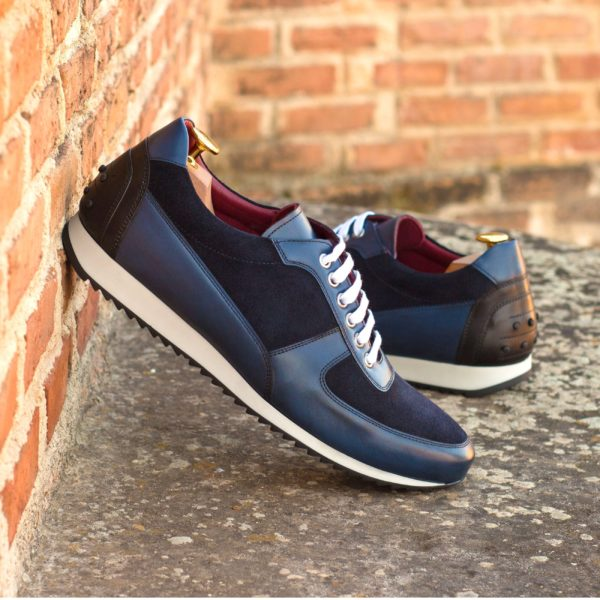 stylish navy luxury suede and leather Trainers HUGO