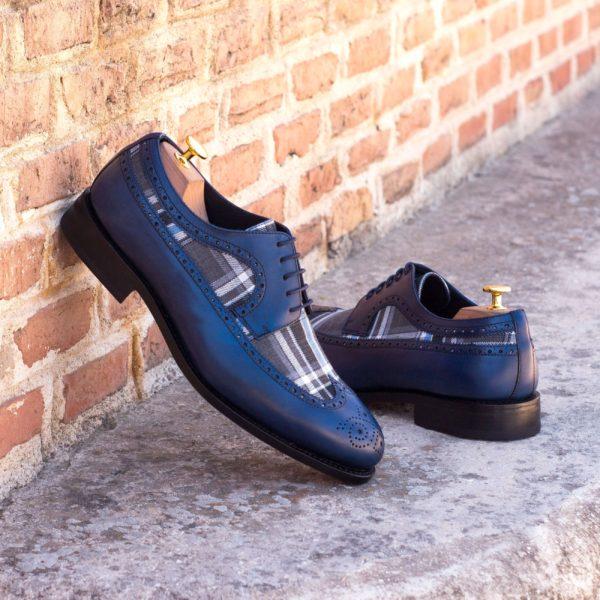 Longwing Blucher RALPHO shoes navy grey plaid insitu