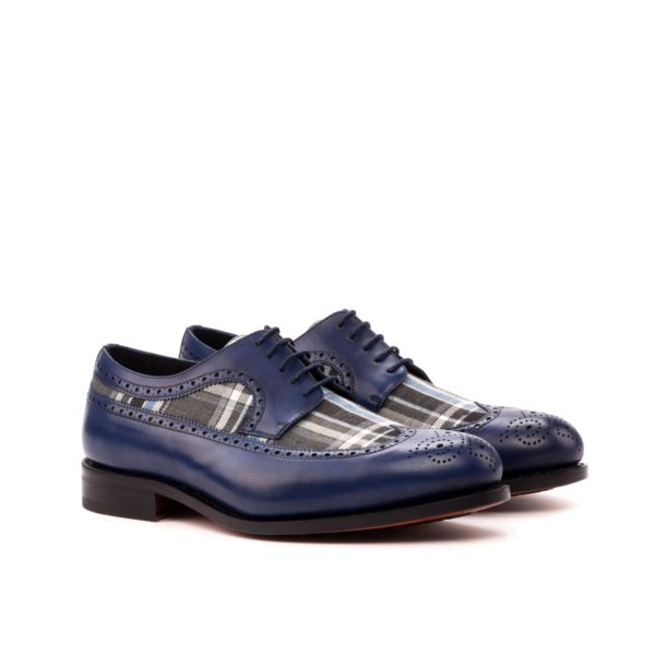 Blucher shoesRALPHO navy leather tartan contrast