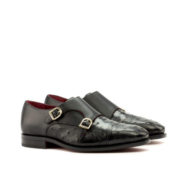 Ostrich Double Monk Shoes RAVEN